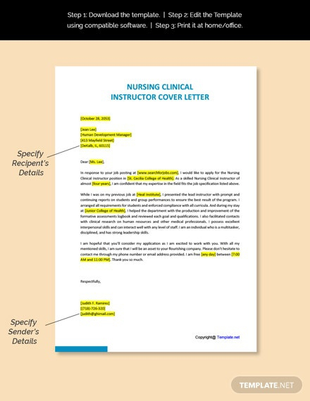 Free Nursing Clinical Instructor Cover Letter