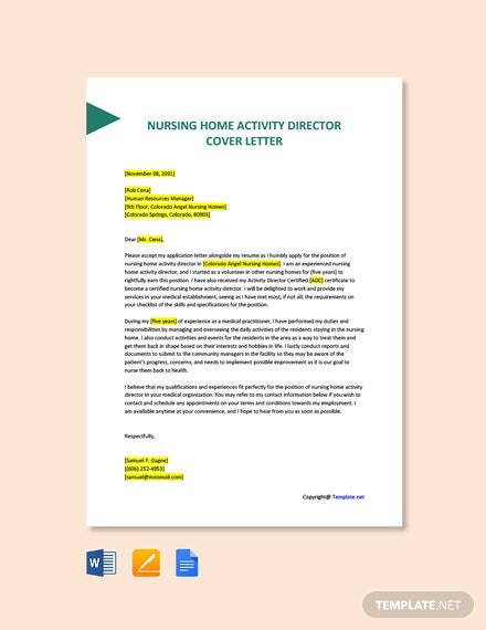 Free Nursing Home Activity Director Cover Letter Template
