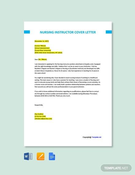 Free Nursing Instructor Cover Letter