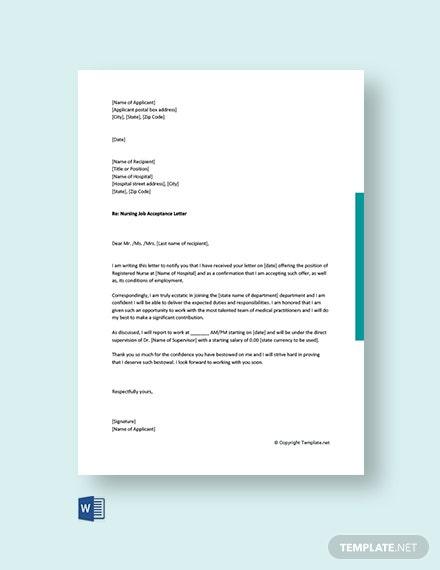 Free Nursing Job Acceptance Letter Template