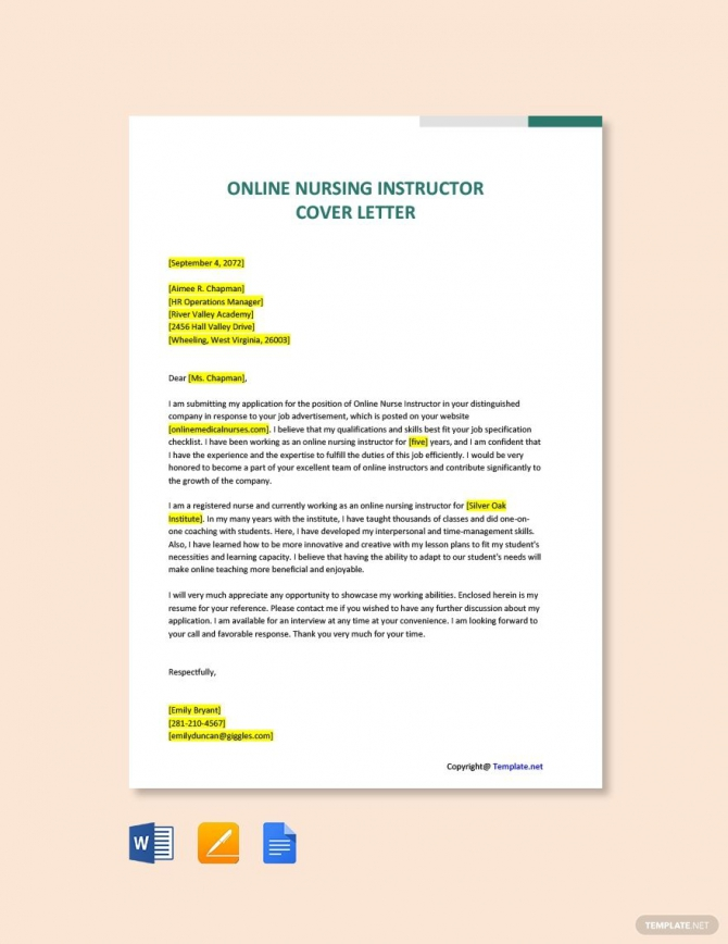 Free Online Nursing Instructor Cover Letter Template Ad