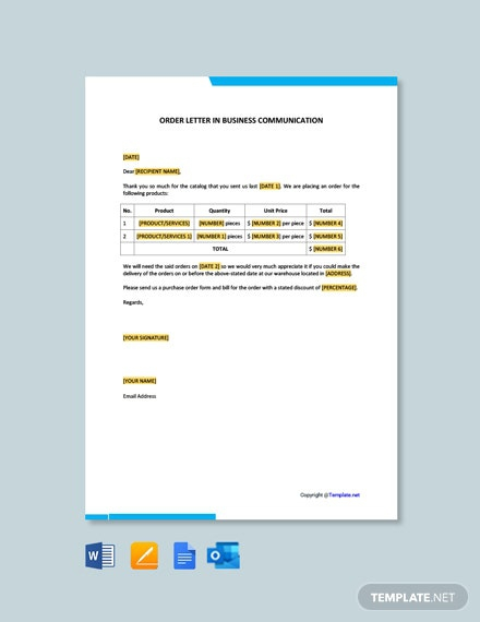 Free Order Letter In Business Communication Template