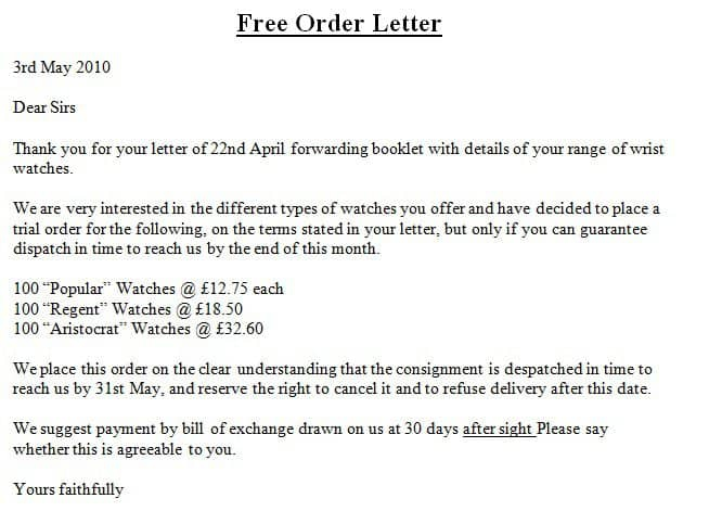 Free Order Letter Templates  Find Word Letters