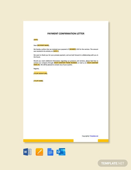 Free Payment Confirmation Letter Template