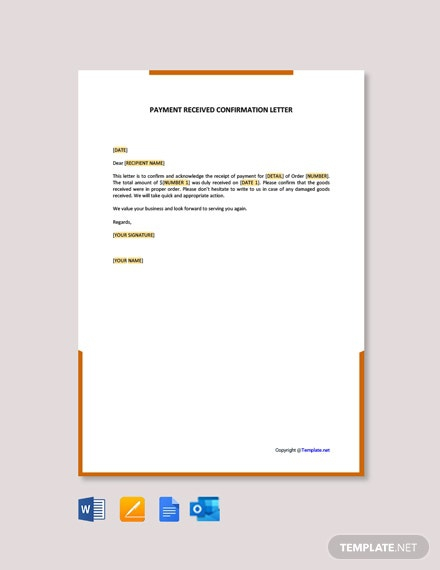 Free Payment Received Confirmation Letter Template