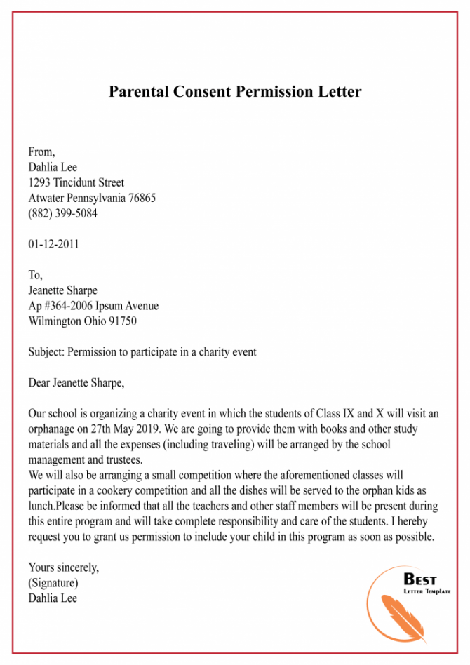 Free Permission Letter Template  Sample   Example