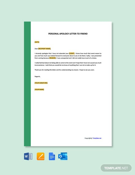 Free Personal Apology Letter To Friend Template