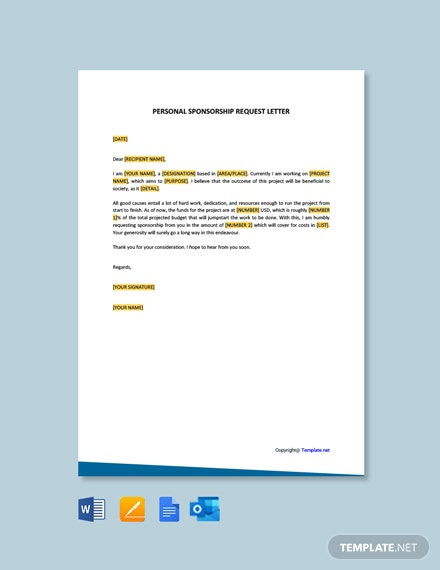 Free Personal Sponsorship Request Letter Template