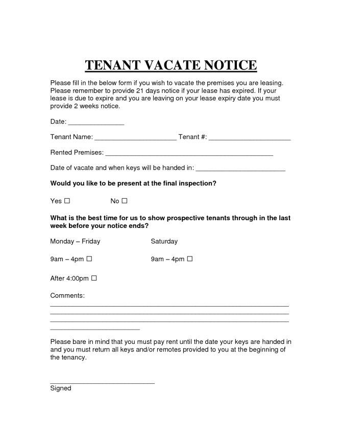 Free Printable Intent To Vacate Letter Template
