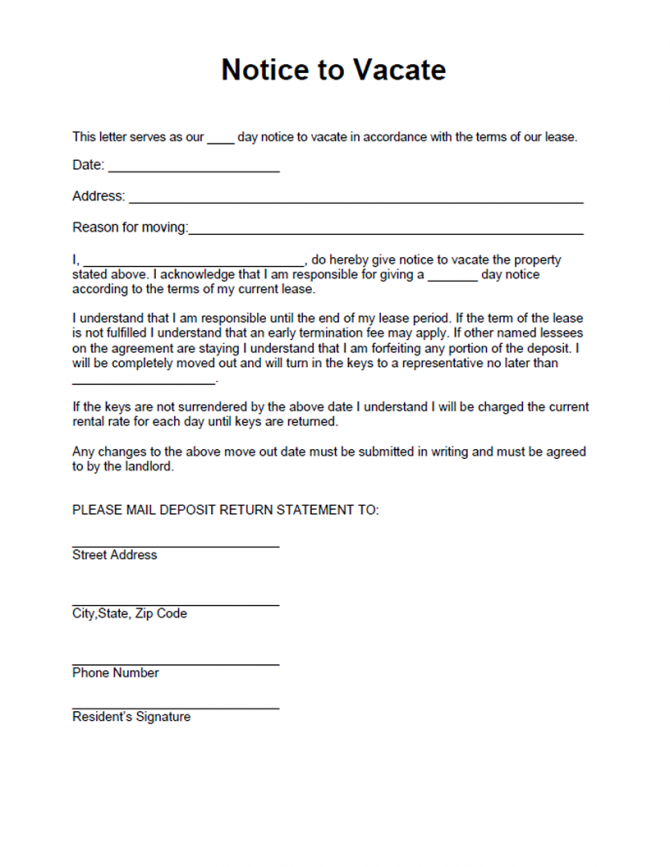 Free Printable Intent To Vacate Letter Template  Vacate Notice