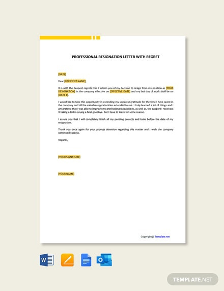 Free Professional Resignation Letter With Regret Template