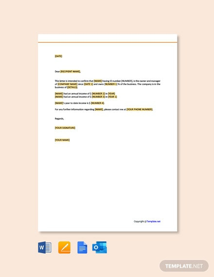 Free Proof Of Income Letter For Self Employed Template