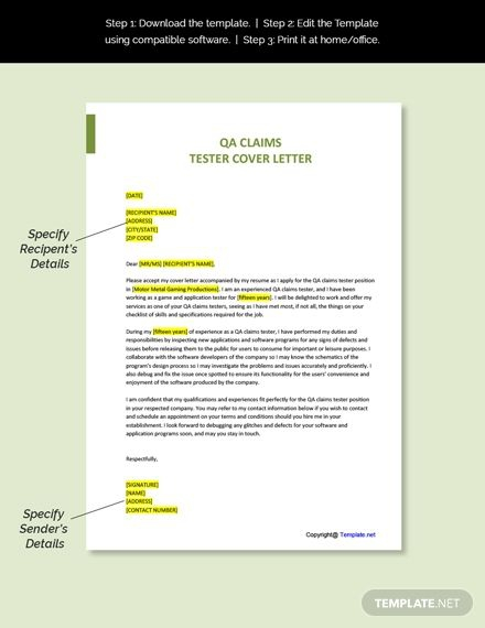 Free Qa Claims Tester Cover Letter In