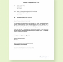 Query Letter To Employee