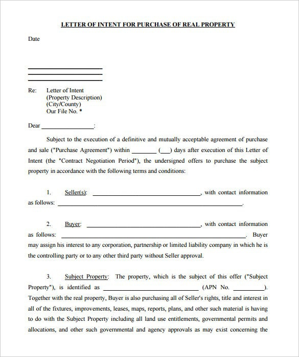 Free Real Estate Letter Of Intent Templates