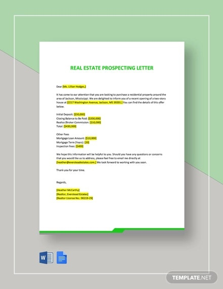 Free Real Estate Prospecting Letter Templates In Pdf  Word