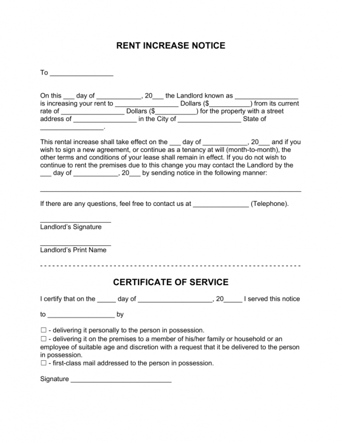 Free Rent Increase Letter Template