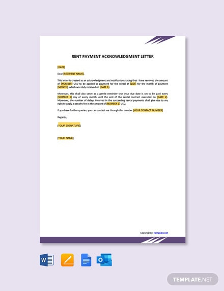 Free Rent Payment Acknowledgment Letter Template