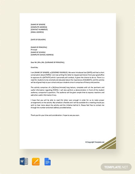 Free Request Letter To Principal For Permission Template