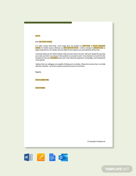 Free Resignation Letter Due To Family Healthy Reasons Template