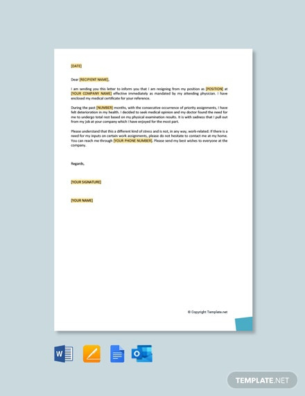 Free Resignation Letter Due To Health And Stress Template
