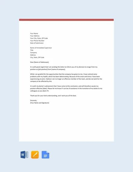 Free Resignation Letter Template Due To Health Issues In