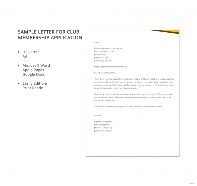 Free Sample Application Letter For Club Membership