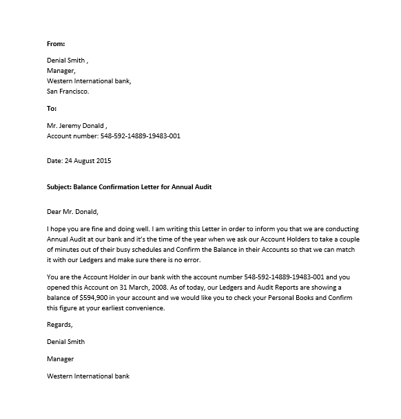 Free Sample Confirmation Letters