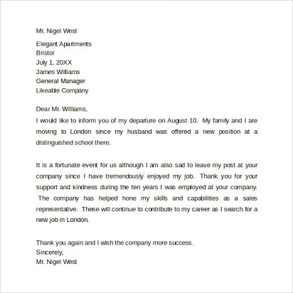 Free Sample Goodbye Letters Co Workers