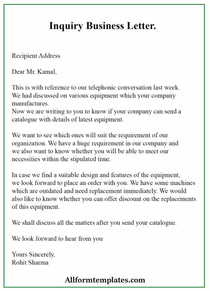 Free Sample Inquiry Business Letter Template With Example