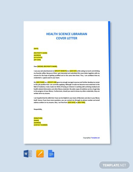 Free Science Librarian Cover Letter Template