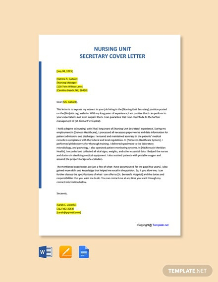 Free Secretary Cover Letter Templates