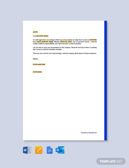 Free Short Resignation Letter For Personal Reason Template