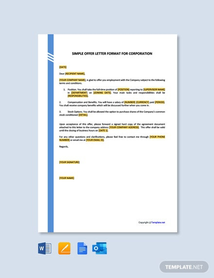 Free Simple Offer Letter Format For Corporation Template