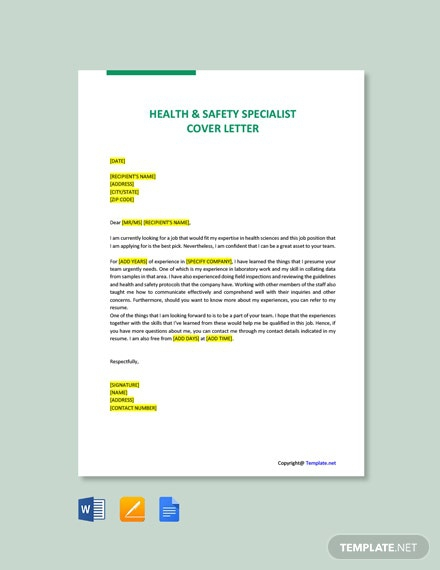 Free Specialist Cover Letter Templates