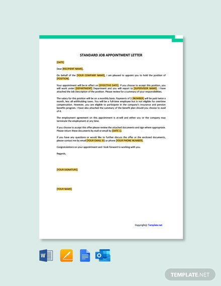 Free Standard Job Appointment Letter Template
