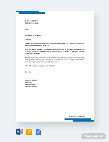 Free Startup Company Introduction Letter