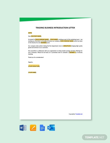 Free Trading Business Introduction Letter Template