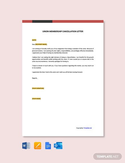 Free Union Membership Cancellation Letter Template
