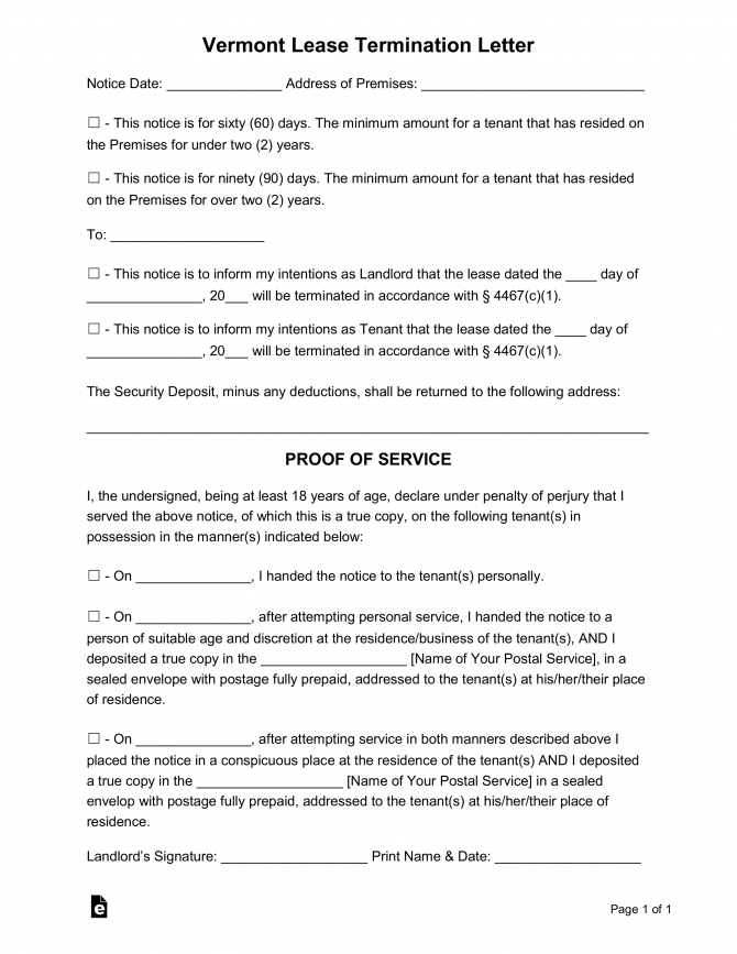 Free Vermont Lease Termination Letter Form