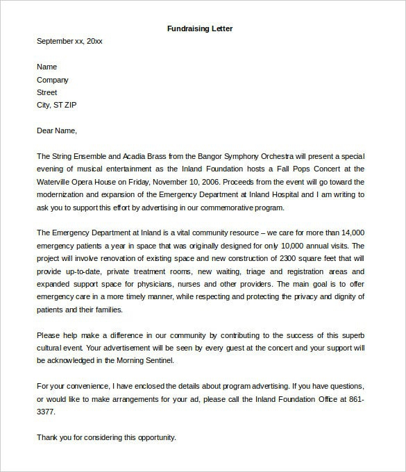 Fundraising Letter Template   Free Word  Pdf Documents Download