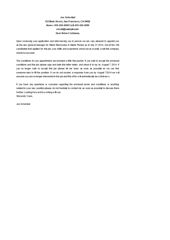 General Manager Appointment Letter