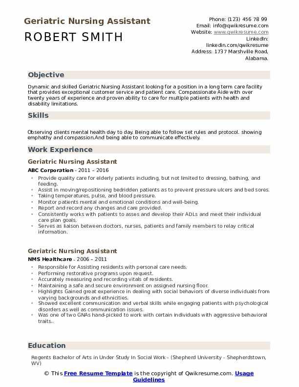 Geriatric Nursing Assistant Resume Samples