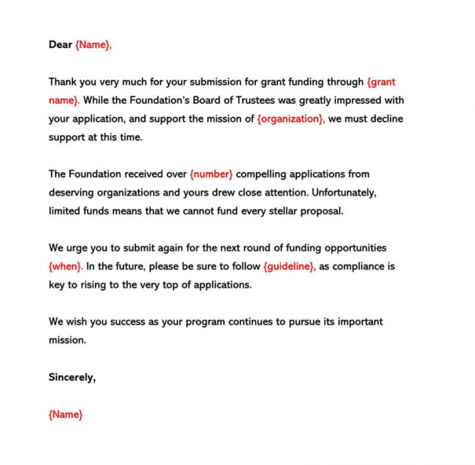 Grant Rejection Letter Sample Letters   Examples