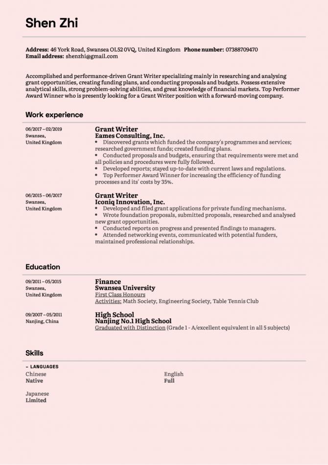 Grant Writer Resume Sample