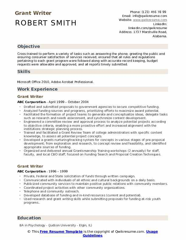 Grant Writer Resume Samples