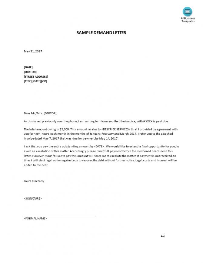 Gratis Letter Of Demand Sample