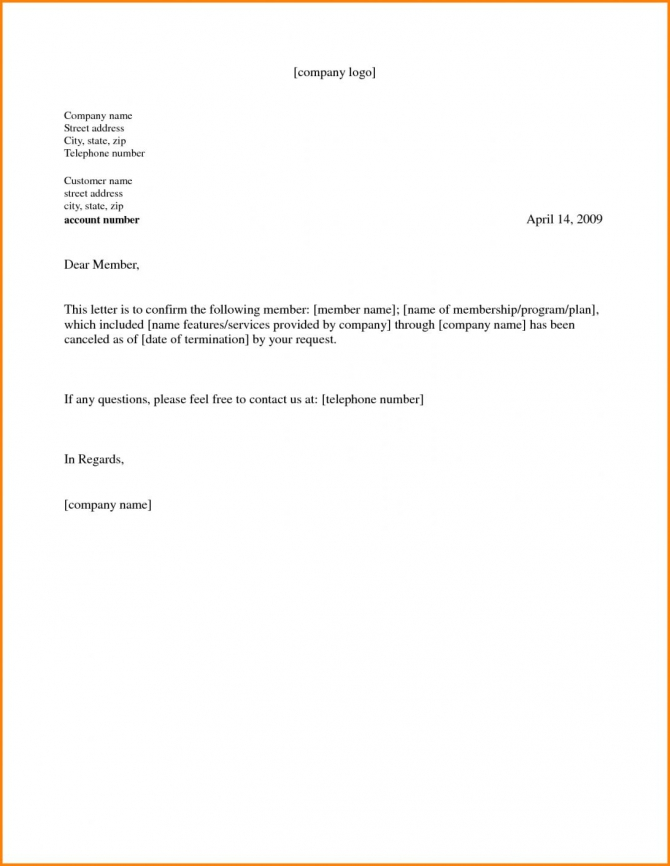 Gym Membership Cancellation Letter Template In