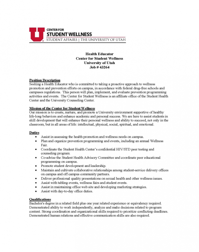 Health Education Job At University Of Utah