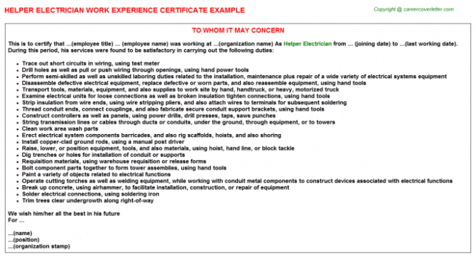 Electrician Work Experience Letter